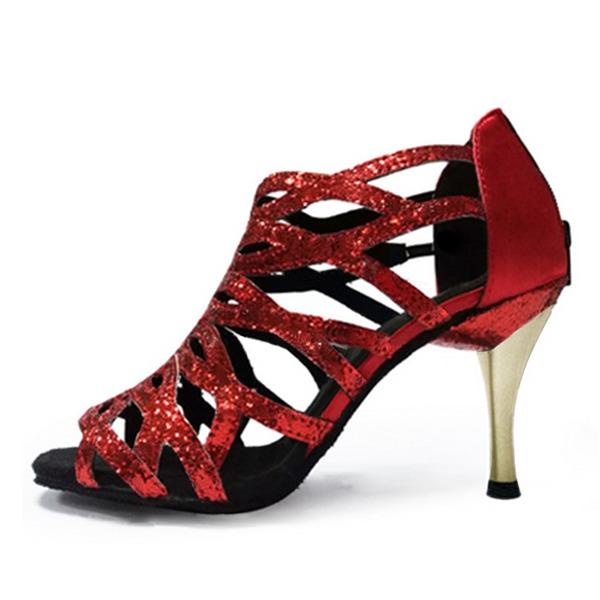 Женщины кожа На каблуках Сандалии Латино с Ремешок на щиколотке В дырочку Обувь для танцев