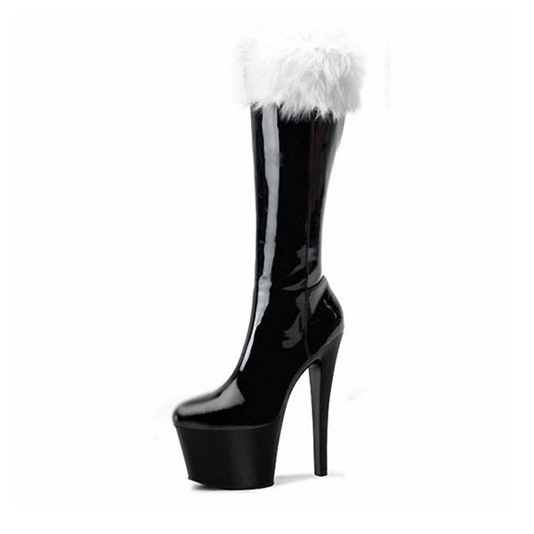 Kvinder Patenteret Læder Stiletto Hæl Pumps Platform Støvler med Pels sko