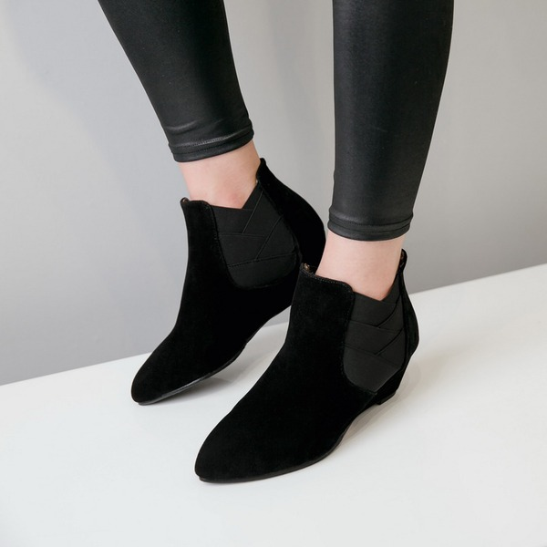 Women's Suede Wedge Heel Wedges Boots Ankle Boots With Others shoes