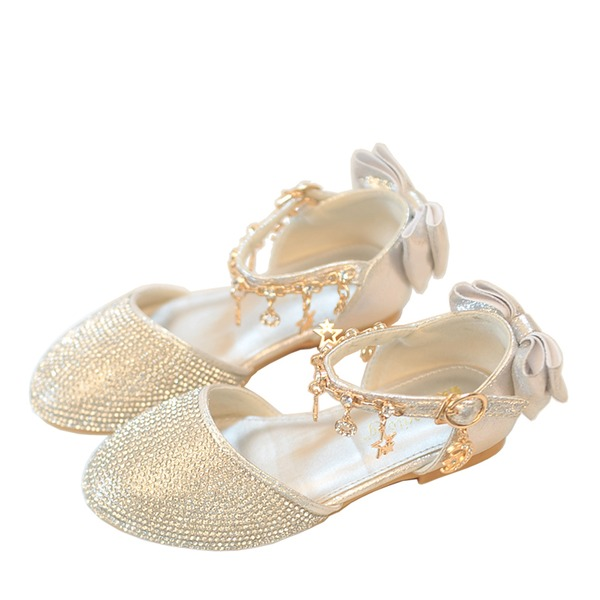Jentas Round Toe Leather lav Heel Flower Girl Shoes med Applikert