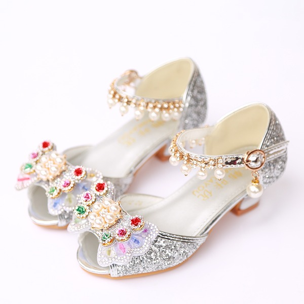 Jentas Titte Tå Leather Sparkling Glitter lav Heel Sandaler Flower Girl Shoes med Bowknot