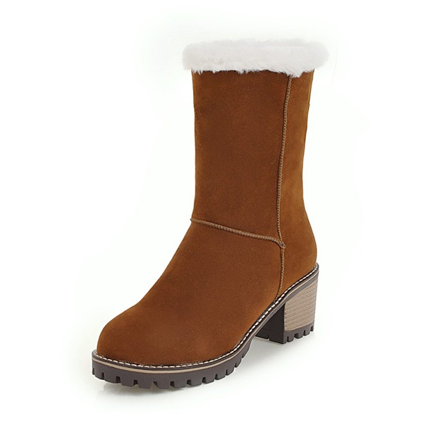 Kvinder Ruskind Stor Hæl Lukket Tå Støvler Mid Læggen Støvler Snestøvler med Pels sko