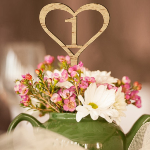 "Heart Shaped/""Fantasy Time"" Heart Shaped Wooden Table Number Cards (Set of 10)"