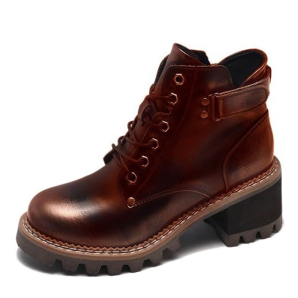 Femmes Similicuir Talon bottier Escarpins Martin bottes avec Rivet Dentelle chaussures