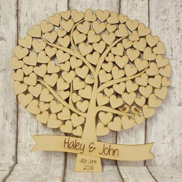 """""""Unser Hochzeits-Baum"""" Holz Gästebuch"""