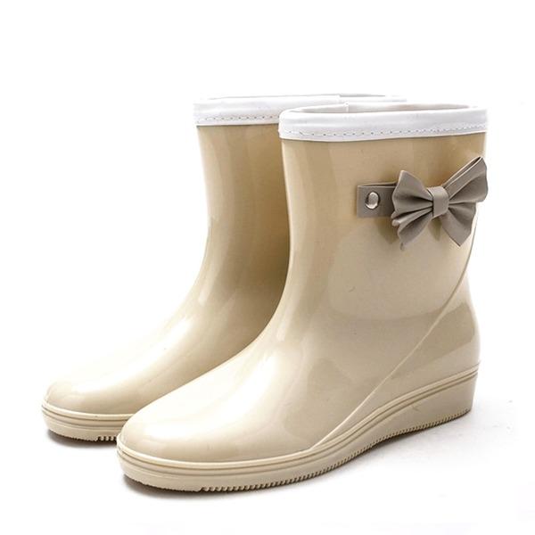 Mulheres PVC Plataforma Calços Botas Botas de chuva com Bowknot sapatos