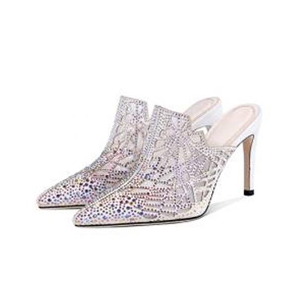 Dla kobiet Skóra z mikrofibry Tkanina mesh Obcas Stiletto Czólenka Zakryte Palce Kapcie Z Stras/ Krysztal Górski obuwie