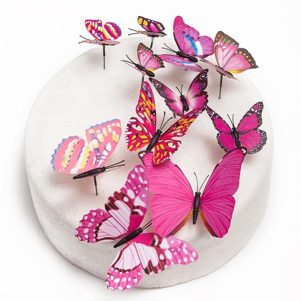 Papillon PVC Mariage Décoration pour gâteaux (Lot de 12)