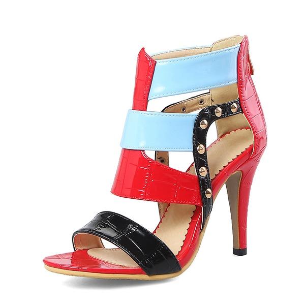 Donna PU Tacco a spillo Sandalo Stiletto Punta aperta con Rivet Cerniera scarpe