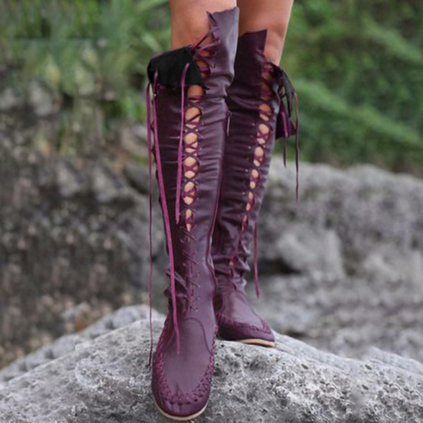 Vrouwen Kunstleer Flat Heel Knie Lengte Laarzen met Vastrijgen schoenen