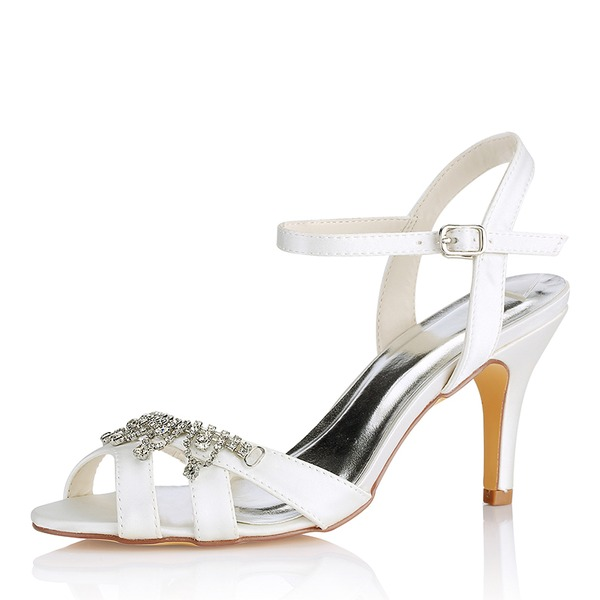 Women's Silk Like Satin Stiletto Heel Peep Toe Pumps Sandals With Others