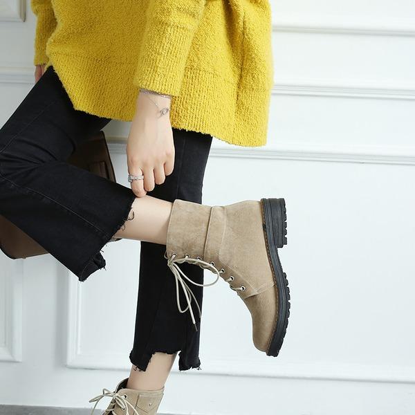 Frauen Veloursleder Stämmiger Absatz Stiefel Stiefelette mit Zuschnüren Schuhe
