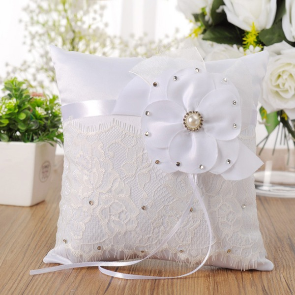 Gorgeous Ring Pillow With Flowers/Lace