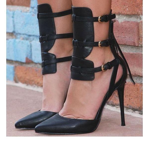 Kadın PU İnce Topuk Pompalar Kapalı Toe Ile Toka ayakkabı