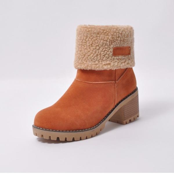 Kvinder Ruskind Stor Hæl Pumps Lukket Tå Støvler Ankelstøvler Snestøvler med Pels sko