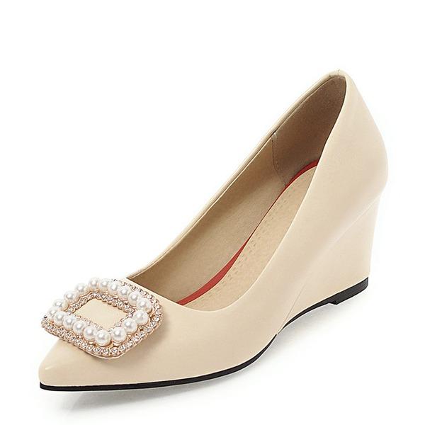 Vrouwen PVC Wedge Heel Wedges met Strass Imitatie Parel schoenen