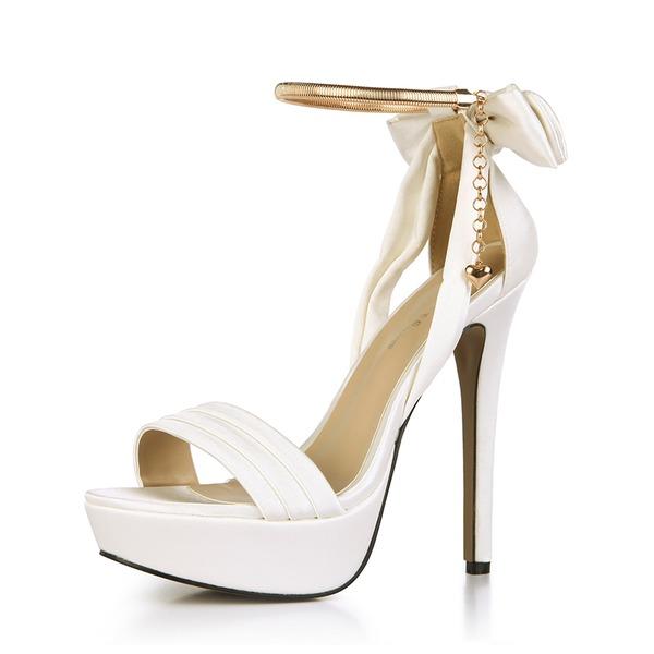 Kvinner Plast Stiletto Hæl Sandaler Pumps Titte Tå med Bowknot Kjede sko