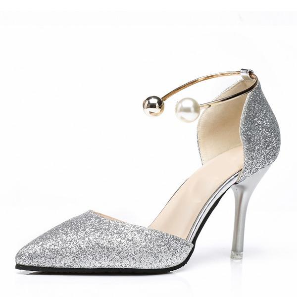 Kvinner Glitrende Glitter Stiletto Hæl Pumps Lukket Tå med Paljetter Imitert Perle sko