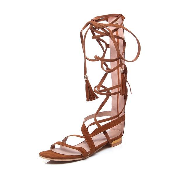 Mulheres Camurça Sem salto Sandálias Sem salto Peep toe com Aplicação de renda sapatos
