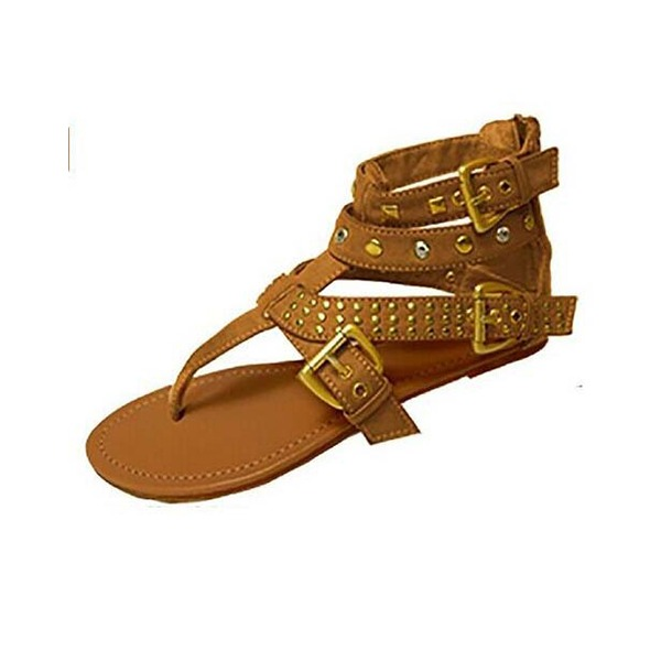 Women's Suede Flat Heel Sandals Flats Peep Toe With Buckle Zipper shoes