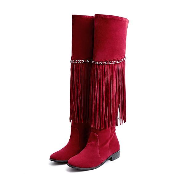 Kadın Suni deri Alçak Topuk Bot Mid-Buzağı Boots Ile Püskül ayakkabı
