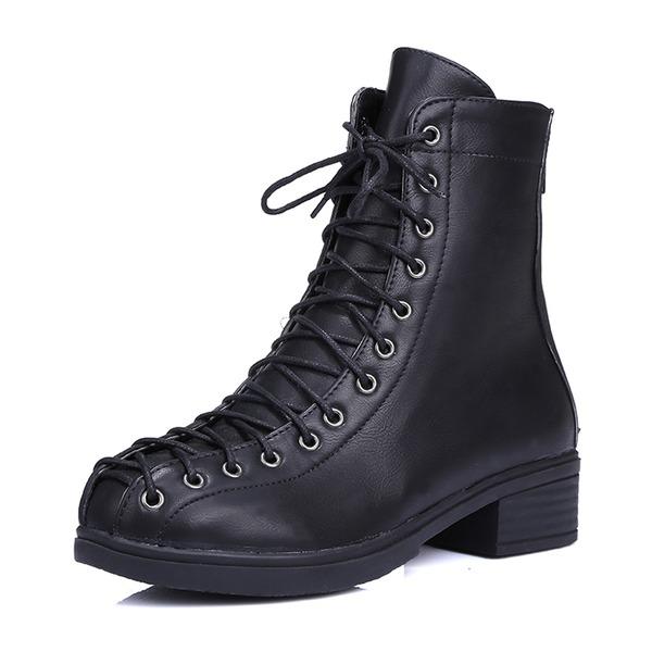 Femmes PU Talon bottier Bottes Bottes mi-mollets Martin bottes avec Zip Dentelle chaussures