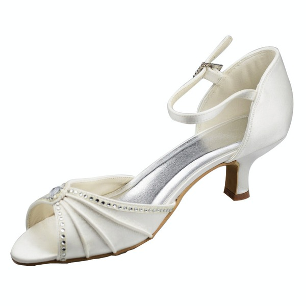 Women's Satin Kitten Heel Peep Toe Sandals With Buckle Rhinestone