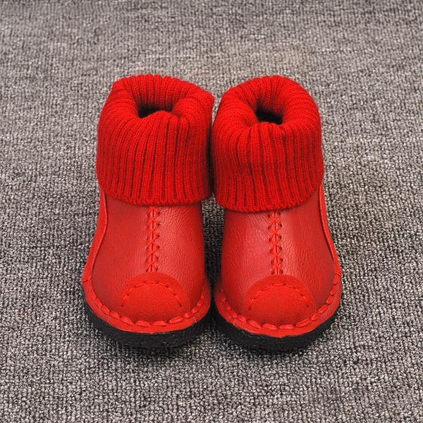 Jentas Lukket Tå Microfiber Lær flat Heel Flate sko Støvler