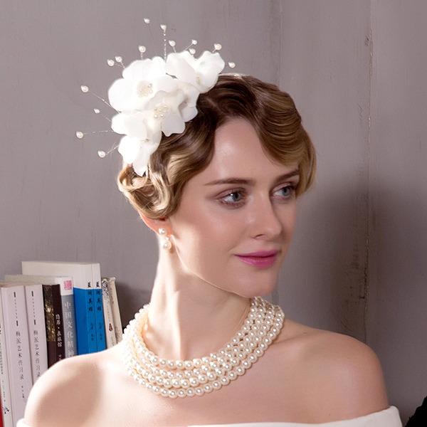 Ladies ' Efterspurgte/Glamourøse/Udsøgt/Forbløffende/Iøjnefaldende/Romantisk/Vintage Polyester med Imiteret Pearl/Blomst Fascinators