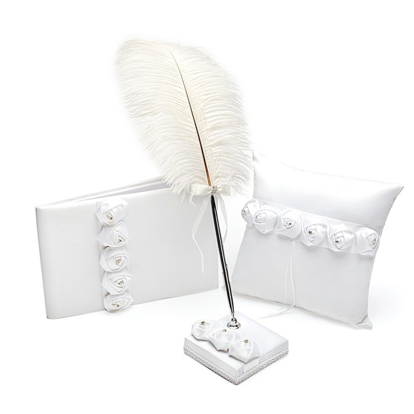 White Rose Kollektion Set in Satin mit Strasssteine