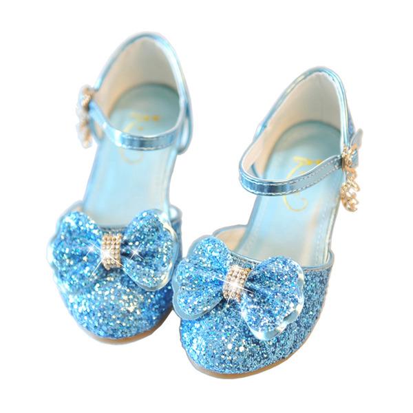 девичий Закрытый мыс дерматин Обувь для девочек с бантом