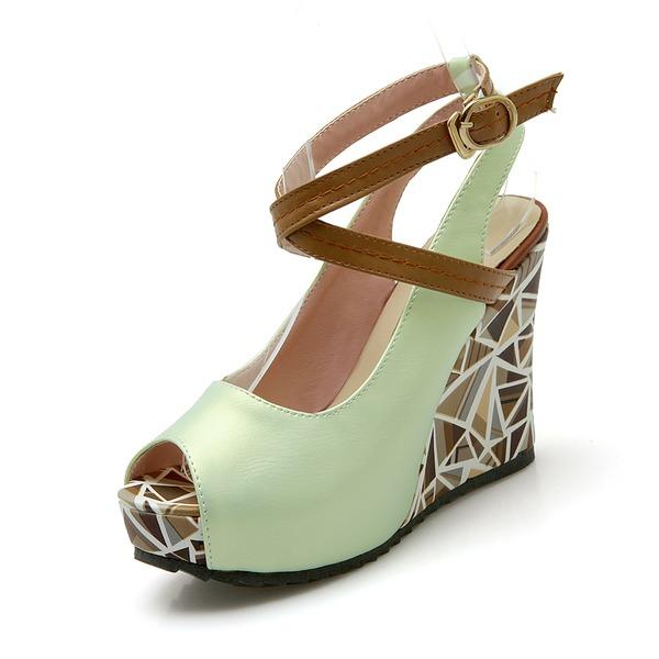 Femmes Similicuir Talon compensé Sandales Compensée À bout ouvert chaussures