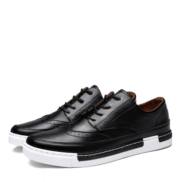 Hombres Cuero Cordones Casual Zapatos Oxford de caballero