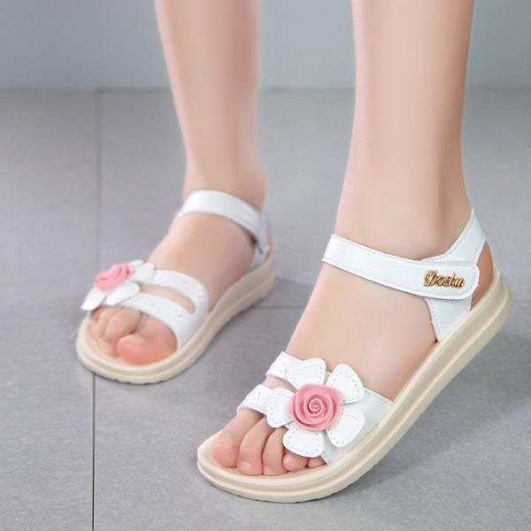 Mädchens Peep Toe Leder Sandalen Flache Schuhe mit Klettverschluss