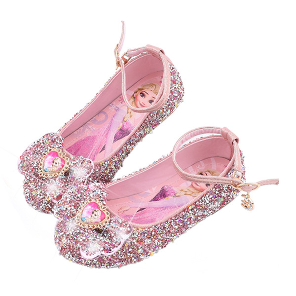 Pigens Lukket Tå Leatherette Flower Girl Shoes med Bowknot Paillet