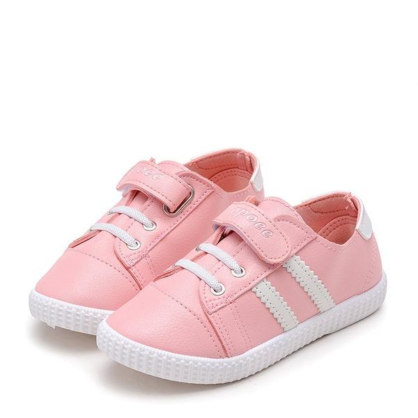 Unisexe similicuir talon plat bout rond Chaussures plates avec Velcro
