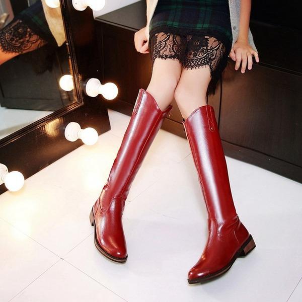 Mulheres PU Salto robusto Botas Bota no joelho com Zíper sapatos