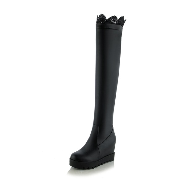 Women's Leatherette Lace Wedge Heel Boots Over The Knee Boots shoes