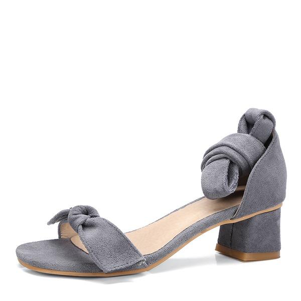 Donna Camoscio Tacco spesso Sandalo con Allacciato scarpe