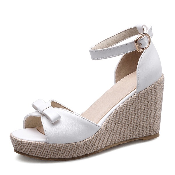 Women's Leatherette Wedge Heel Wedges With Bowknot Buckle shoes