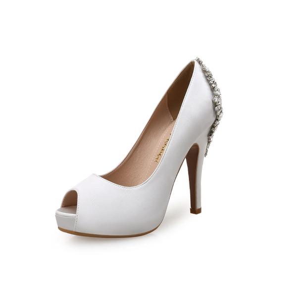 Naisten Mokkanahka Silkki Cone heel Foorumi Peep toe jossa Tekojalokivi kengät