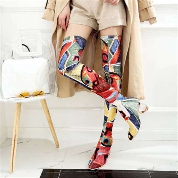 Mulheres Pano Salto robusto Bombas Botas Bota em cima do joelho com Laço de cetim sapatos