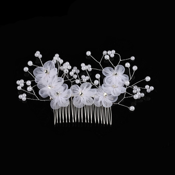 Alloy/Imitation Pearls/Silk Flower Combs & Barrettes With Venetian Pearl (Sold in single piece)