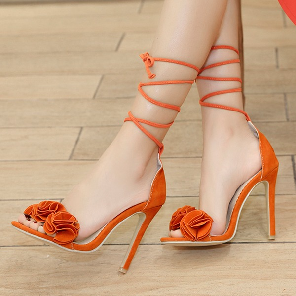 Frauen Veloursleder Stöckel Absatz Sandalen Absatzschuhe mit Blume Schuhe