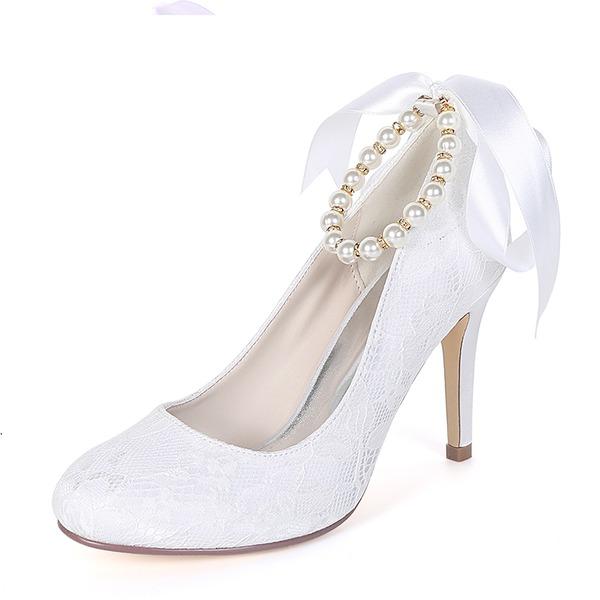 Women's Silk Like Satin Stiletto Heel Pumps With Imitation Pearl Ribbon Tie