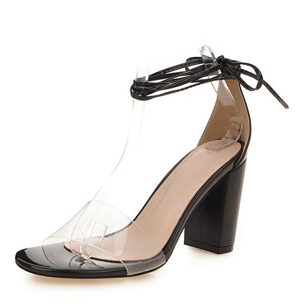 Женщины PU Устойчивый каблук Сандалии На каблуках Открытый мыс с блестками Шнуровка обувь