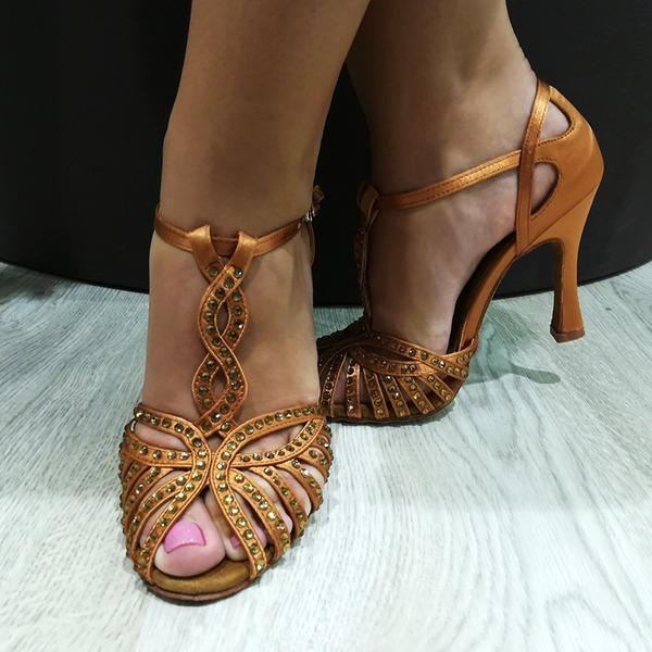 Mulheres Cetim Saltos Latino com Strass Oca-out Sapatos de dança