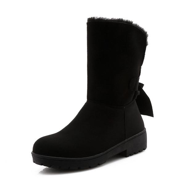 Kvinder Ruskind Lav Hæl Lukket Tå Støvler Mid Læggen Støvler Snestøvler med Bowknot sko
