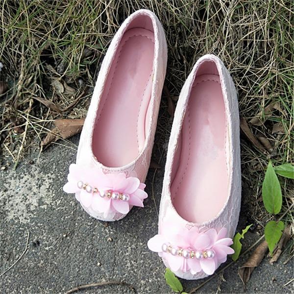 A menina de Toe rodada imitação de couro Heel plana Sem salto com Flor