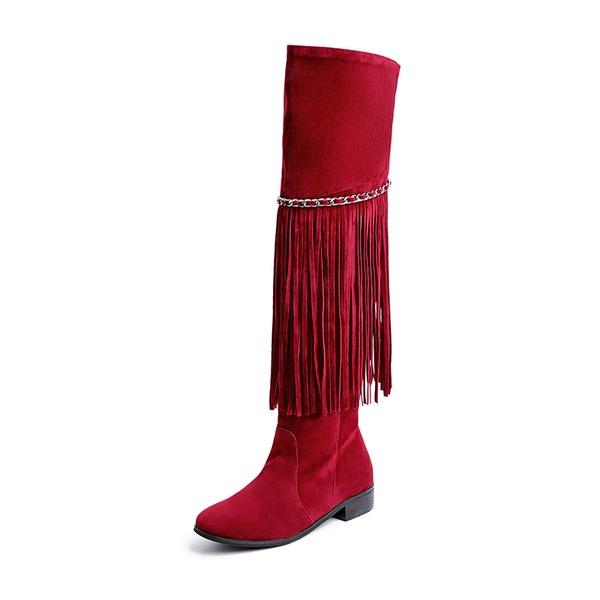 Frauen Veloursleder Niederiger Absatz Flache Schuhe Geschlossene Zehe Stiefel Kniehocher Stiefel mit Quaste Schuhe